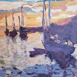"Title: Sunrise, Rockport Artist: Kathy Blankenheim Medium: Oil Size: 16"" x 16"", Framed 21.5"" x 20"""