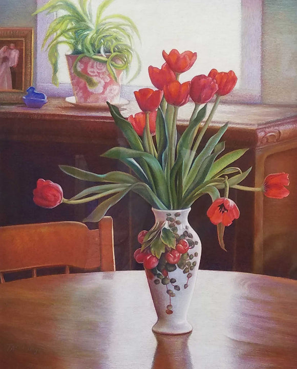 Red Tulips oil painting by Terri Schultz Nashville, Indiana