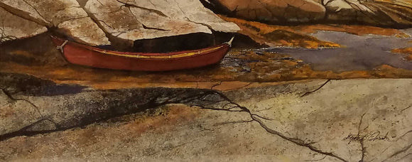The Red Dingy Watercolor by Stephen Edwards