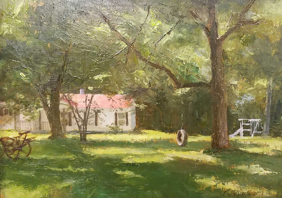 The Tire Swing Oil Painting by Libby Whipple
