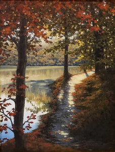 Water's Edge Brown County Oil Painting by Sharon Steiner