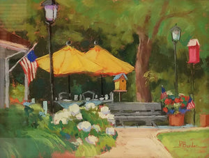 Yellow Brellas Pastel Painting by Pat Bardes