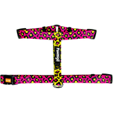 Pawmigo hot pink and neon yellow leopard print adjustable strap dog harness