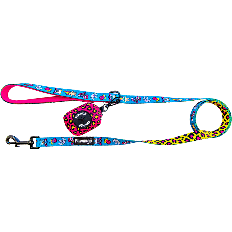 Pawmigo teal blue 90s inspired print and hot pink and neon yellow leopard print dog leash kit with poop bag dispenser