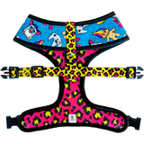 Pawmigo teal blue 90s inspired print and hot pink and neon yellow leopard print reversible dog harness back