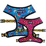 Pawmigo teal blue 90s inspired print and hot pink and neon yellow leopard print reversible dog harness