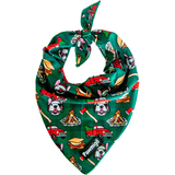 Pawmigo lumberjack green plaid cooling dog bandana with s'mores, bonfire, pickup trucks, lumberjack pups and axes