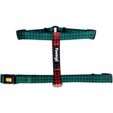 Pawmigo green and red buffalo plaid adjustable strap dog harness