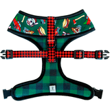 Pawmigo lumberjack outdoors camping buffalo plaid reversible dog harness back
