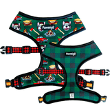 Pawmigo lumberjack outdoors camping buffalo plaid reversible dog harness
