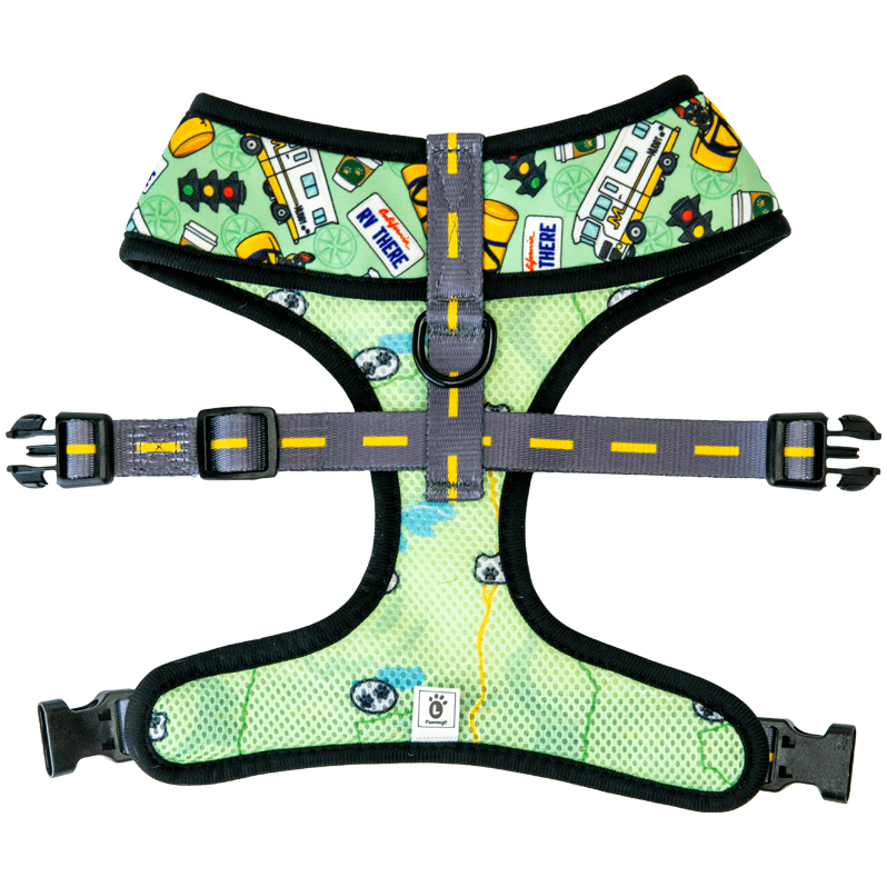 Road trip themed reversible dog harness