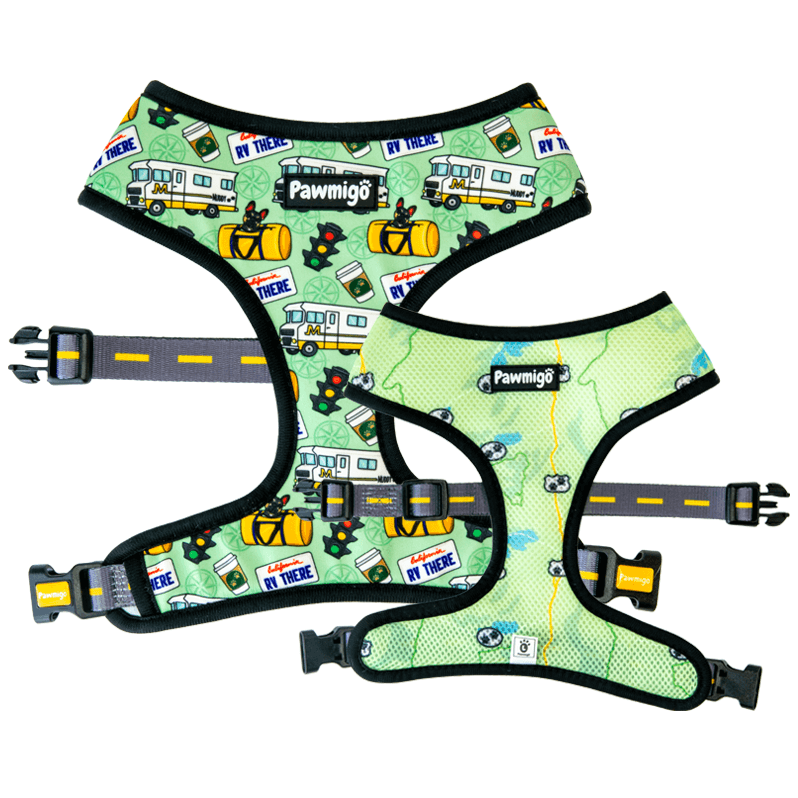Road trip theme dog reversible harness