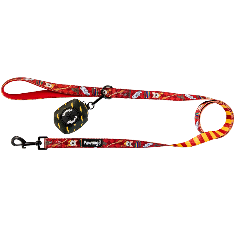 Pawmigo Harry Potter Hogwarts themed red burgundy dog leash kit with black and yellow lightning bolt print poop bag holder