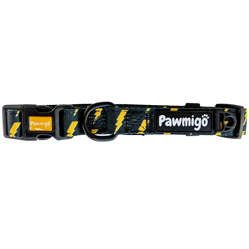 Pawmigo black dog collar with yellow lightning bolts and black buckle