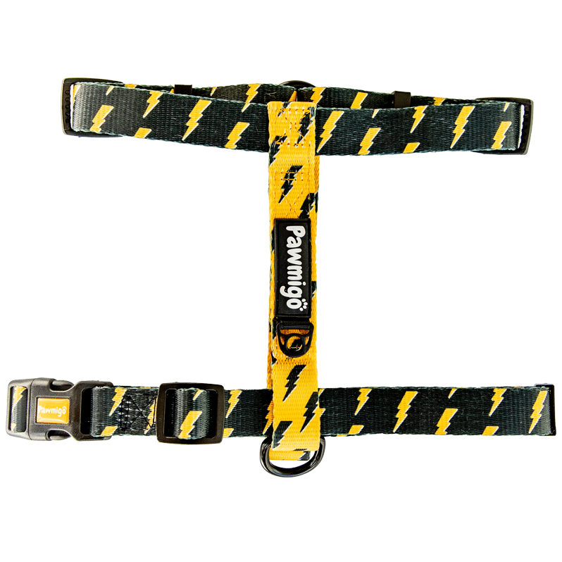 Pawmigo black and yellow lightning bolt dog strap harness with black buckle