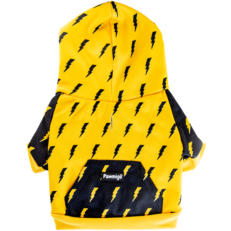 Pawmigo black and yellow dog hoodie with lightning bolts