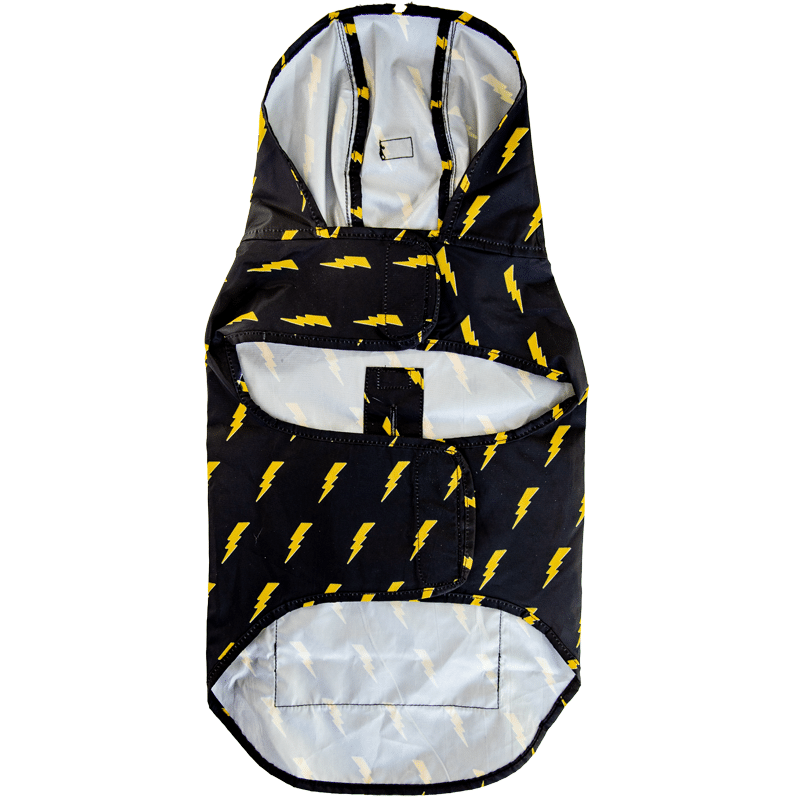 Pawmigo black lightweight water-resistant dog poncho raincoat with yellow lightning bolts