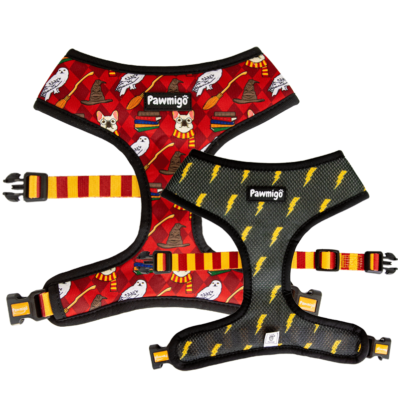 Pawmigo red burgundy Harry Potter Hogwarts themed reversible dog harness with black and yellow lightning bolts and Gryffindor striped strap