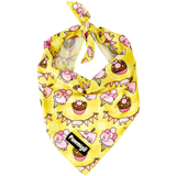 Yellow gingham pig party dog cooling bandana with cupcakes and balloons