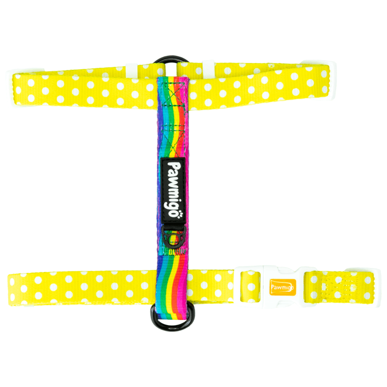 Yellow polka dot and rainbow strip adjustable dog strap harness