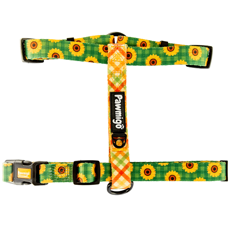 Pawmigo fall sunflower print dog strap harness with multicolor plaid and black buckle