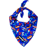 USA Patriotic Red White & Blue July 4th themed dog cooling bandana