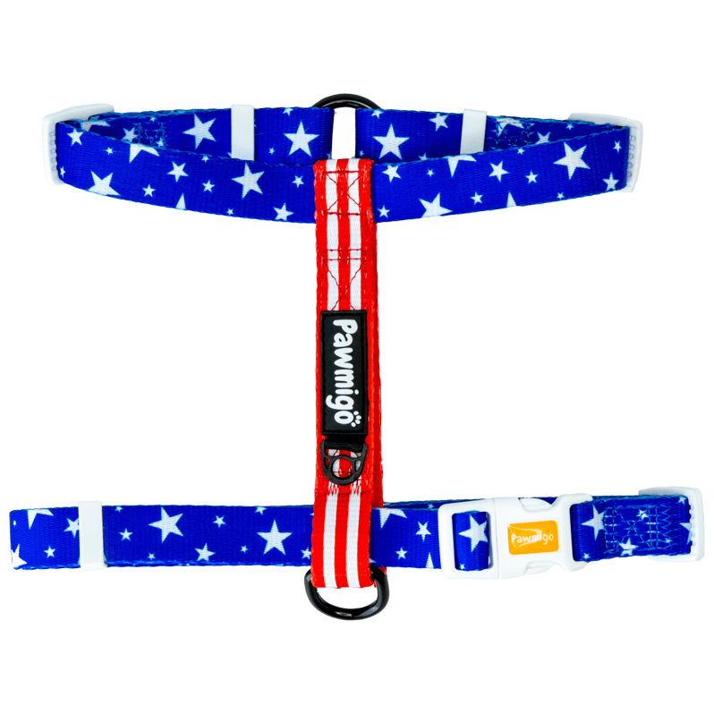 USA patriotic red white and blue stars and strips adjustable dog strap harness