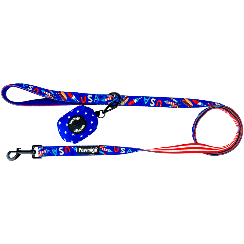 USA patriotic 4th of july red white and blue themed dog leash kit with poop bag carrier