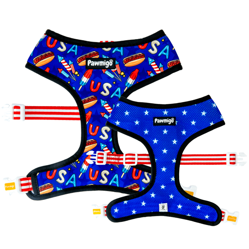 USA patriotic red white and blue 4th of july theme reversible dog harness