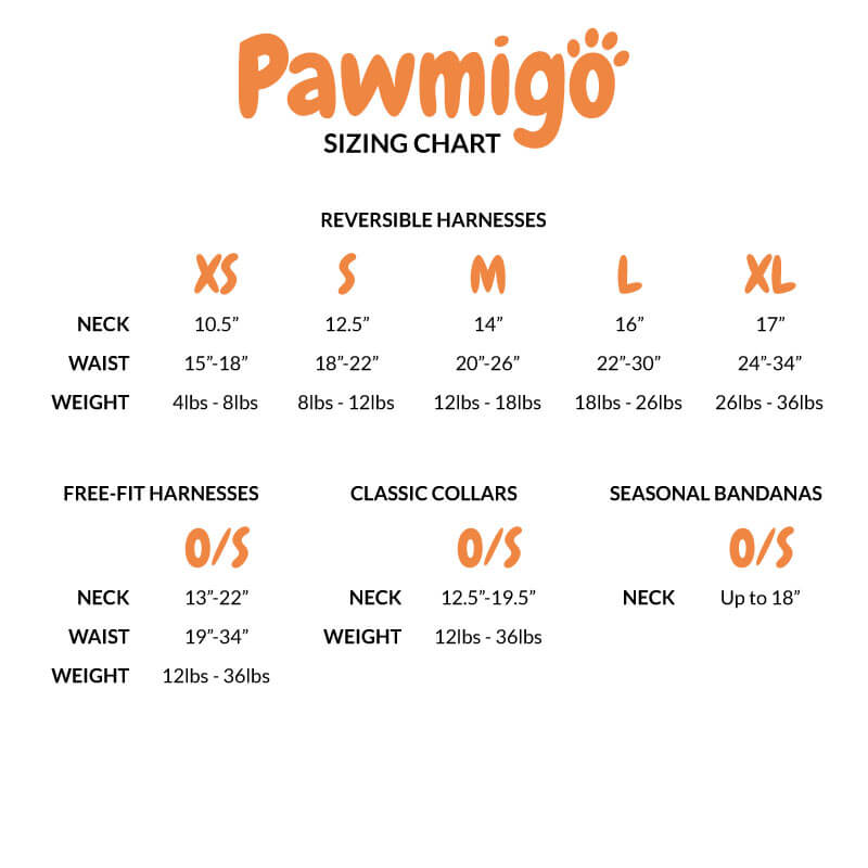 Sizing Chart for Pawmigo