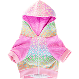 Pawmigo pastel rainbow leopard print and pink purple zebra print dog hoodie