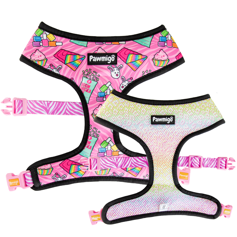 Pawmigo pink purple slumber party sleepover themed reversible harness with pastel rainbow leopard print and zebra print strap