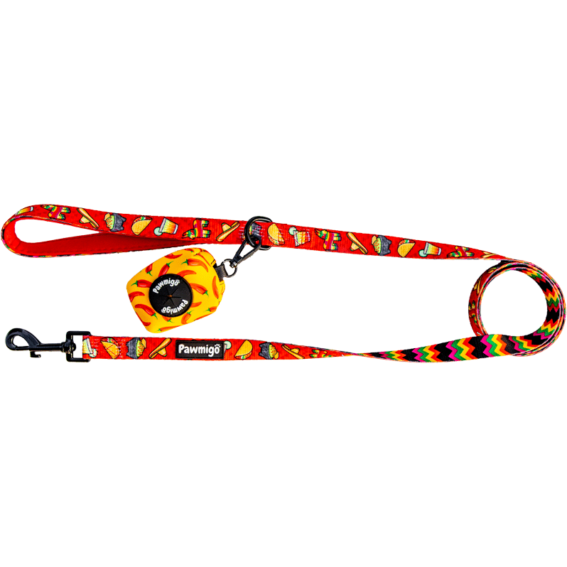 Pawmigo red fiesta Mexican Cinco de Mayo taco Tuesday inspired dog leash kit with poop bag dispenser