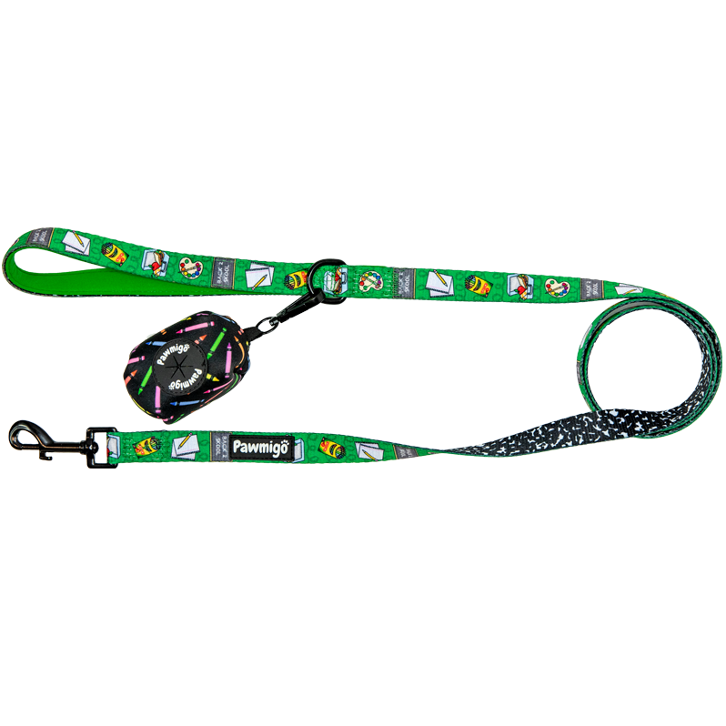 Back to school, teacher themed dog leash kit with poop bag carrier