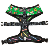 Back to school, teacher themed reversible dog harness for small to medium breeds.