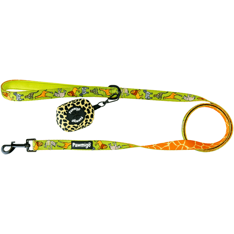 Safari and giraffe print dog leash kit with cheetah print poop bag carrier
