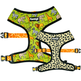 Safari giraffe and cheetah print reversible dog harness