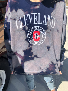 Navy Tie Dye Cleveland Sweatshirt - One of a kind