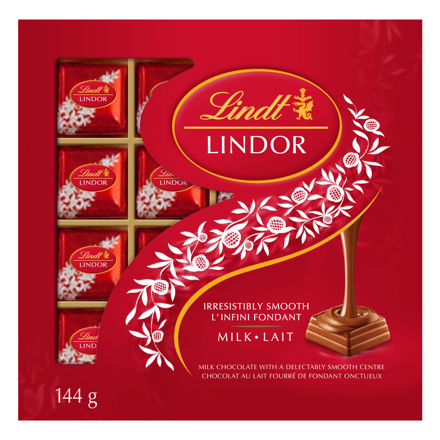 Lindt LINDOR Milk Chocolate Squares Box 144g
