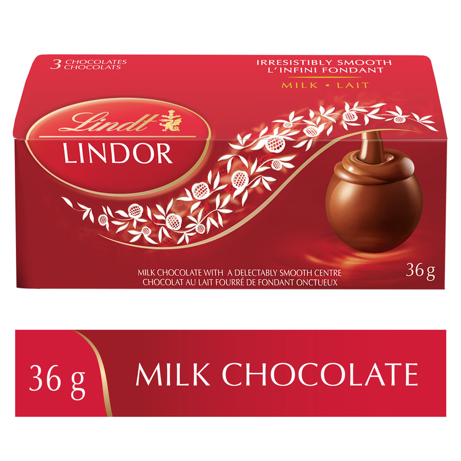 Lindt LINDOR Milk Chocolate Truffles 3-Pack Case (18x3pk) 648g