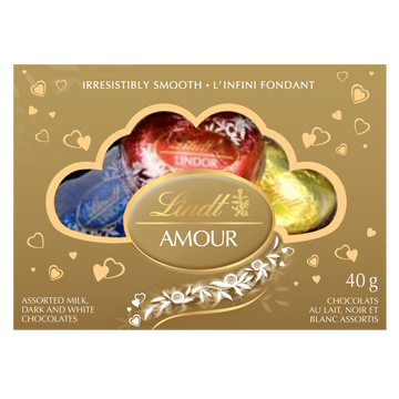 Lindt LINDOR AMOUR Assorted Chocolate Hearts Box 40g (Delivery Only)