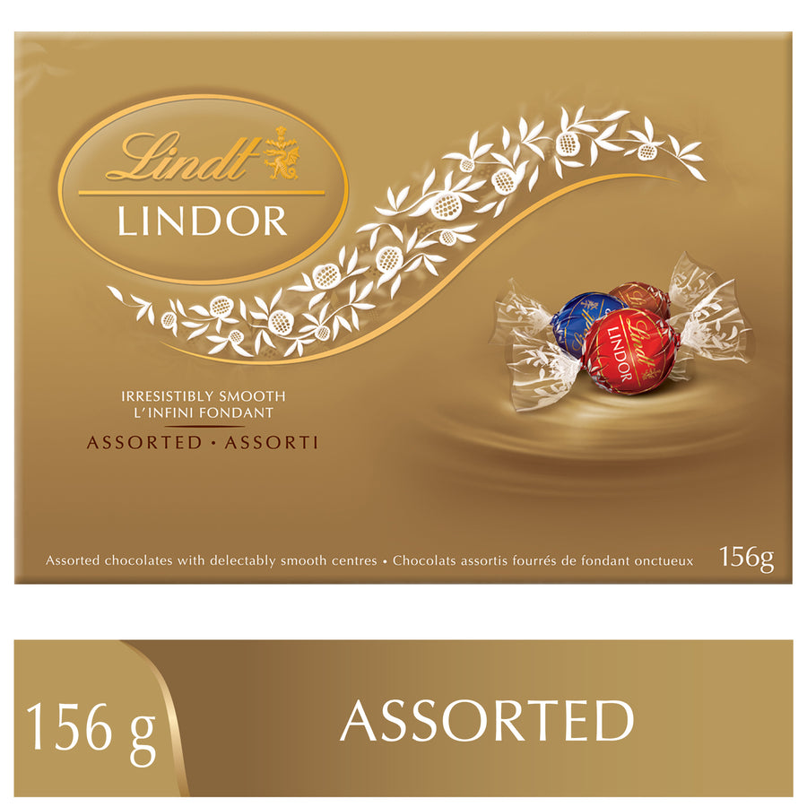 Lindt LINDOR Assorted Milk & Dark Chocolate Truffles Box 156g