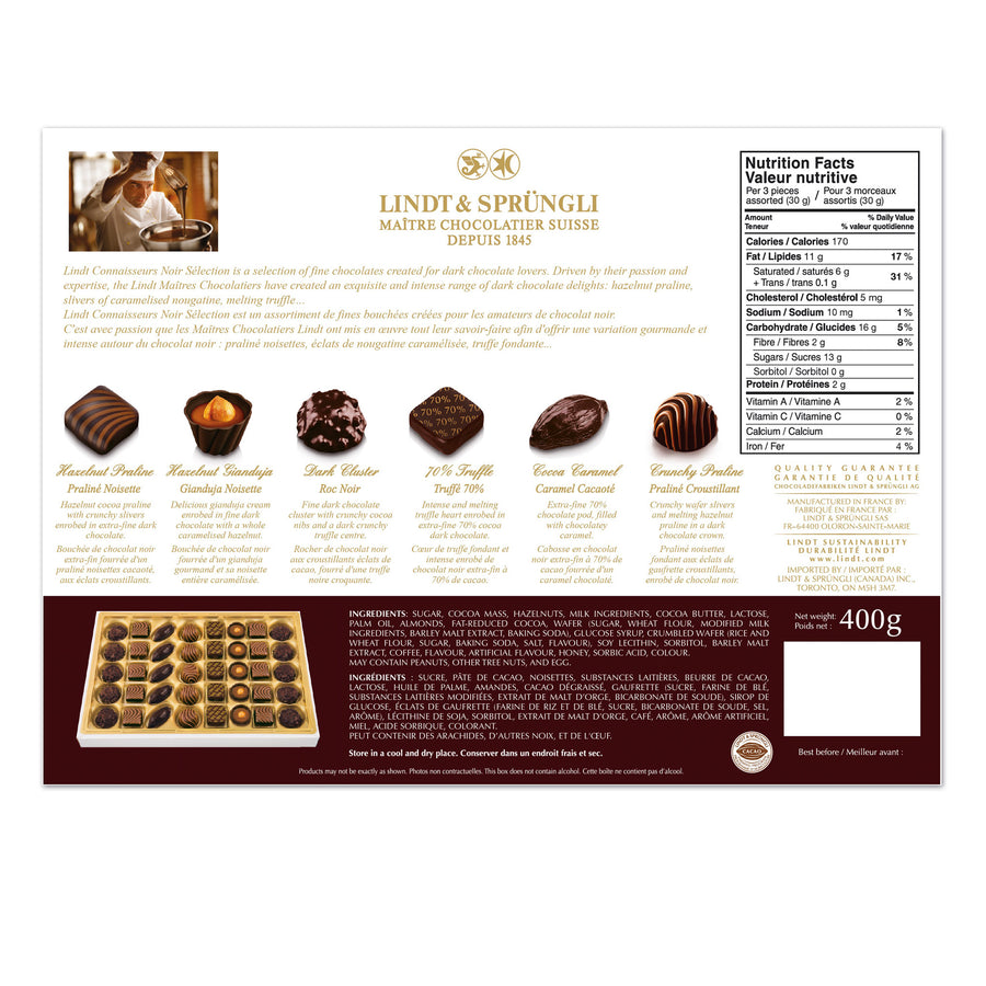 Lindt CONNAISSEURS NOIR SELECTION Assorted Dark Chocolates Gift Box 400g