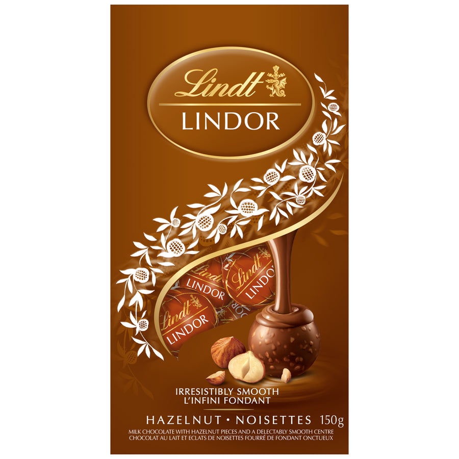 LINDOR Milk Chocolate Hazelnut Truffles Bag, 150g