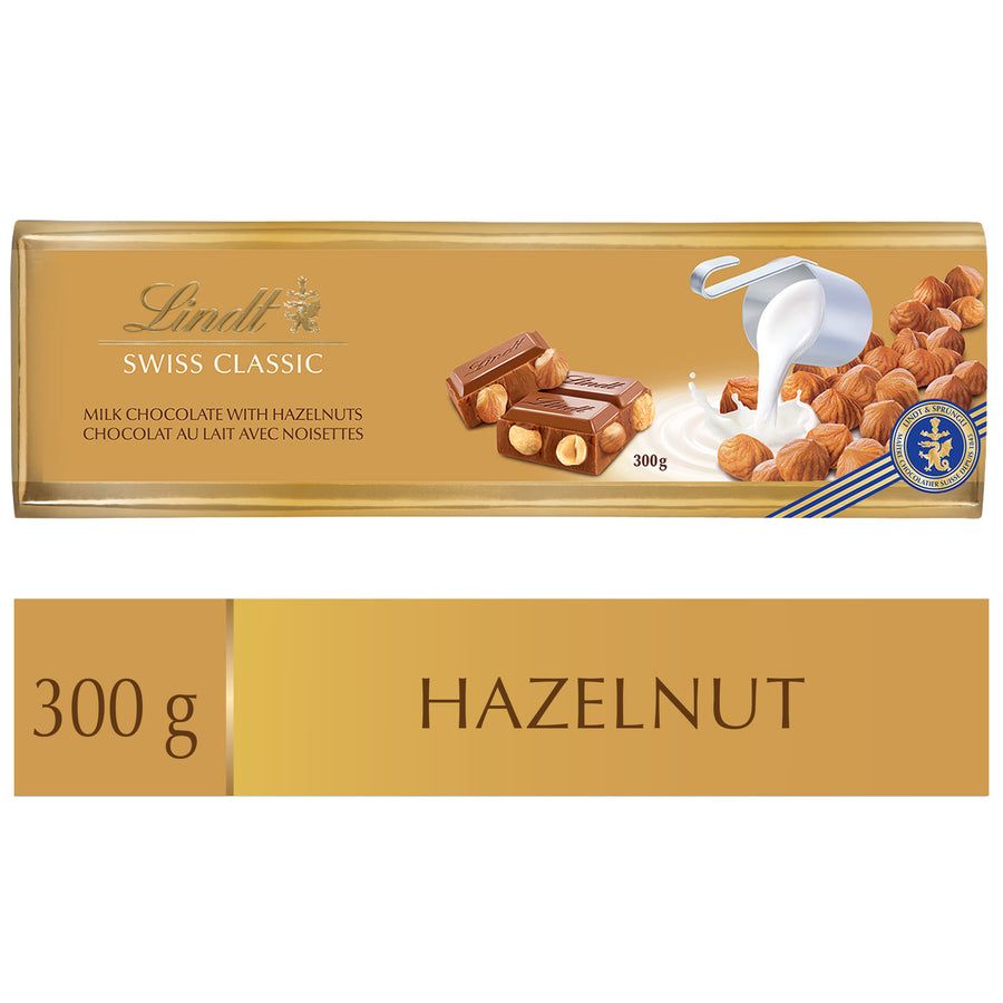 Lindt SWISS CLASSIC Gold Milk Chocolate with Hazelnut Bar 300g