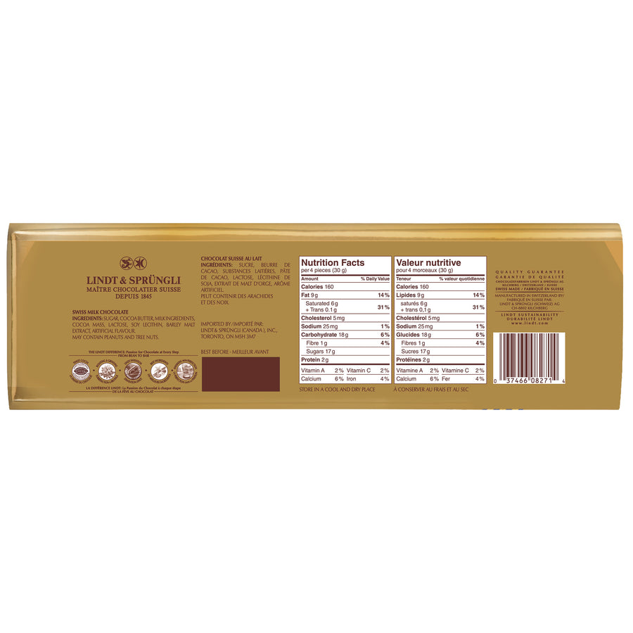 Lindt Swiss Classic Gold Milk Chocolate Bar, 300g
