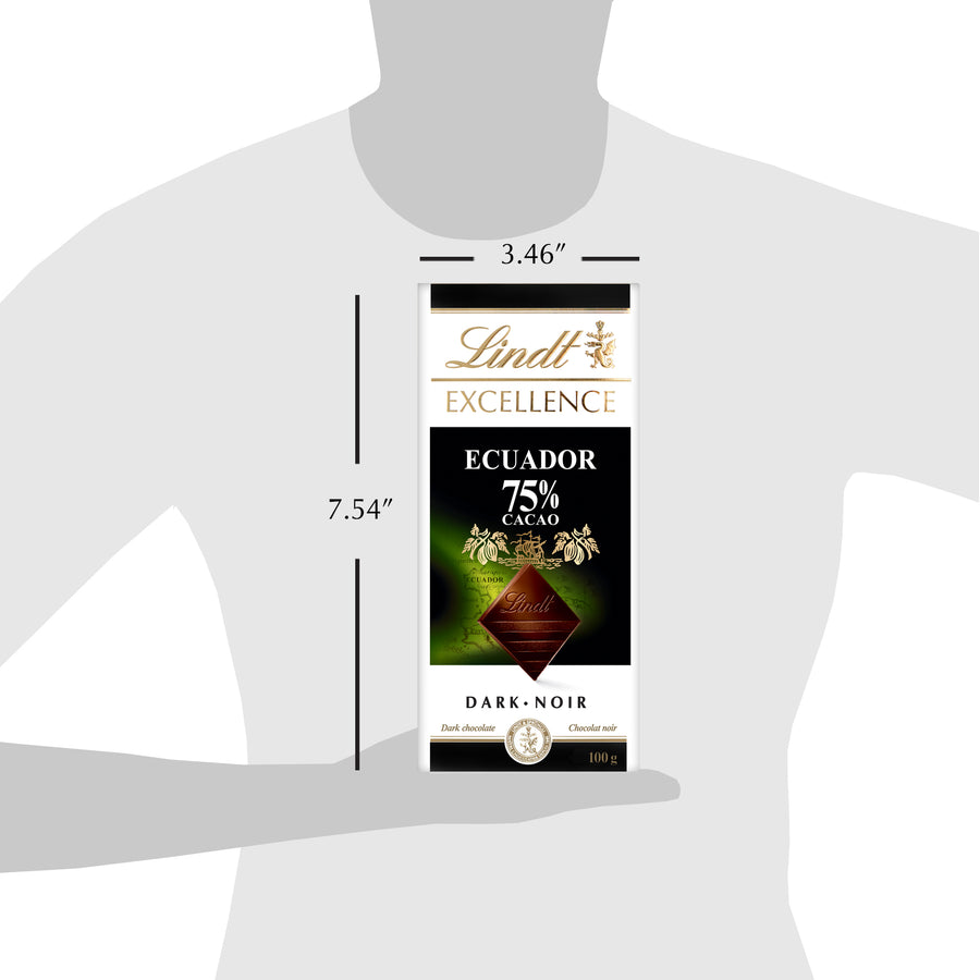 Lindt Excellence Ecuador 75% Cacao Dark Chocolate Bar 100g
