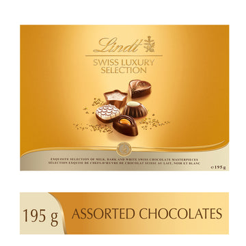 Lindt Swiss Luxury Selection Assorted Pralines Box, 195g