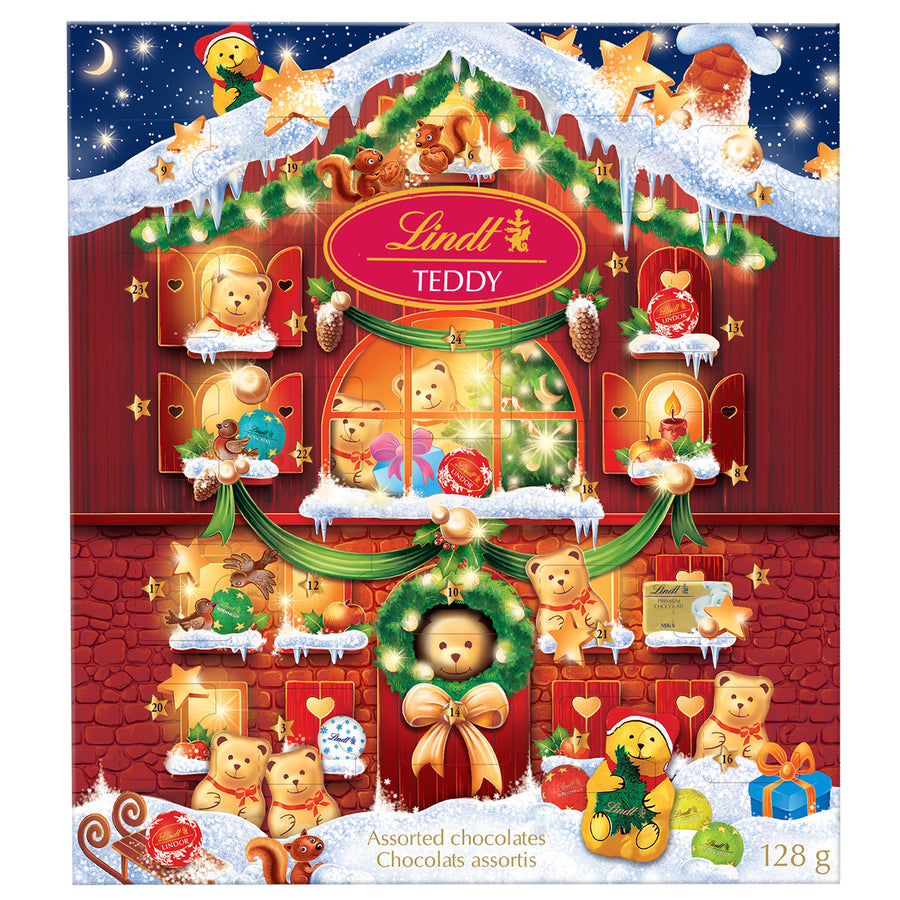Lindt Teddy Assorted Milk Chocolate Advent Calendar 128g (BOGO)
