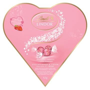 Lindt LINDOR Friendship Heart Strawberries & Cream White Chocolate Truffles Box 63g